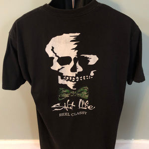 Salt Life Skull Bowtie Shirt Stay Classy Pocket